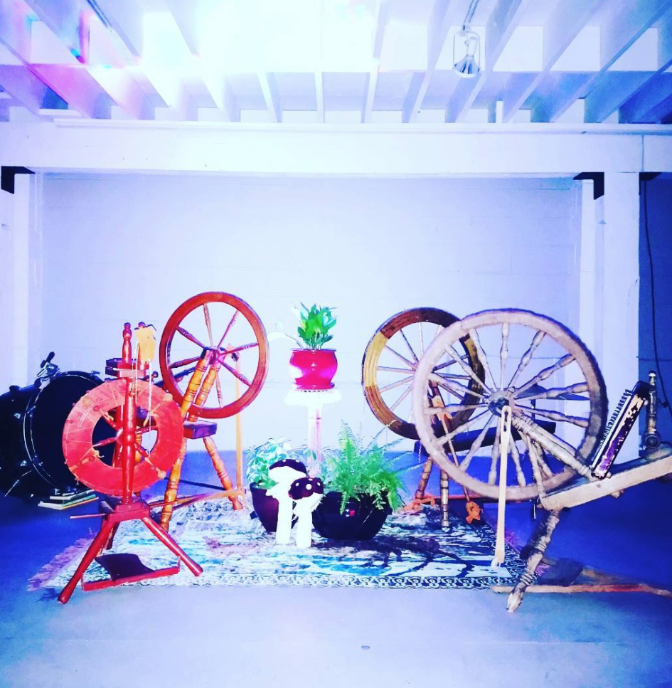 Spinning wheel assemblage ensemble installation at Vancouver Art and Leisure